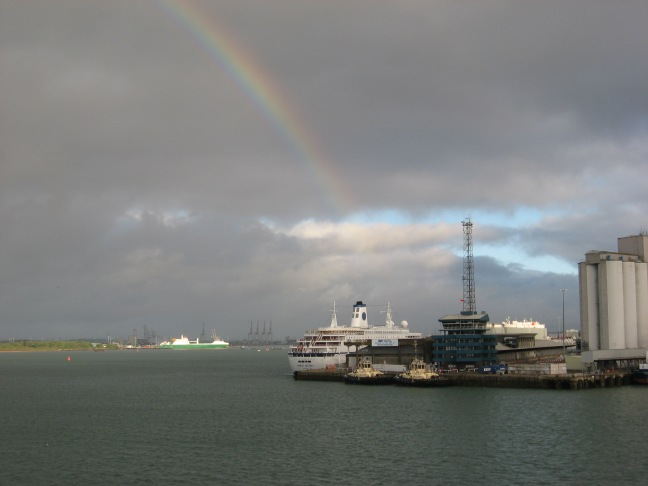 Sailing into Southampton, we were greeted by a rainbow